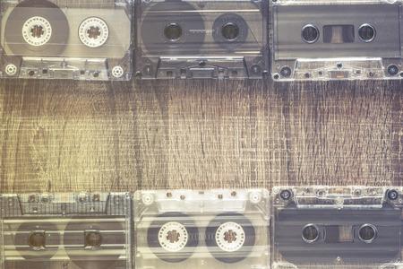 cassettes: Audio tape cassettes. Music concept. Selective focus image cross processed for vintage look