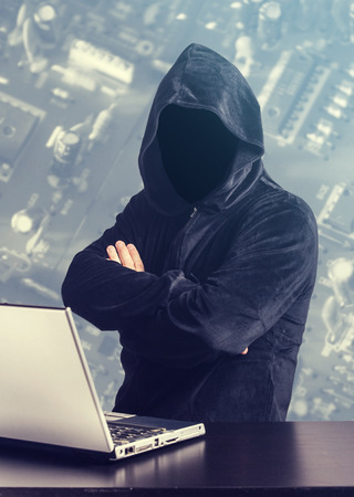 web scam: Hacker at work. Internet security concept Stock Photo
