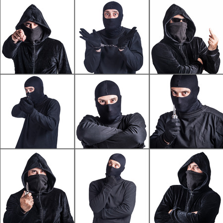 malandros: Crime and safety concept. Collage of a man imitating different kind of dangerous criminals Foto de archivo