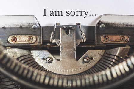 i am sorry: I am sorry message written on a vintage typewriter Stock Photo