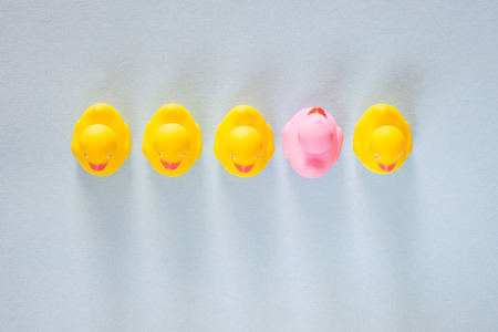 Pink rubber duck standing out from the common yellow ones. Uniqueness, difference, individuality and thinking outside the box concept
