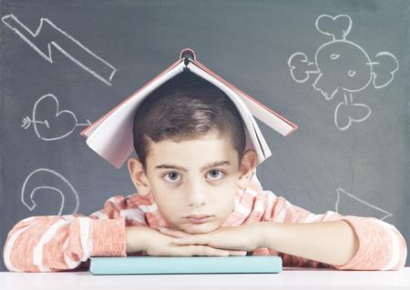 schoolboy: Tired little schoolboy