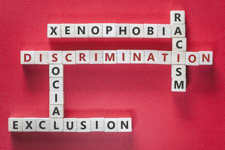 Discrimination, xenophobia, racism and social exclusion words written with blocks on red background. Social issues concept