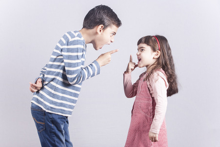Brother and sister arguing