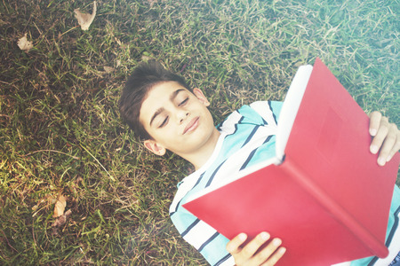 Young boy reading a book lying on the grass
