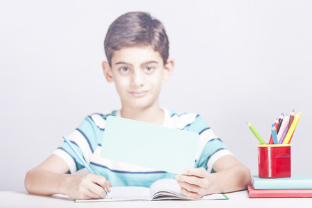 Cute school boy holding a blank advertising banner with copy space Stock Photo