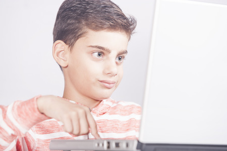 Young boy using a laptop computer. E learning concept Stock Photo - 112521818