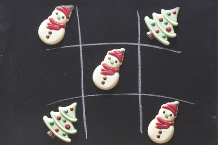 Christmas tic tac toe board game with chocolate candies