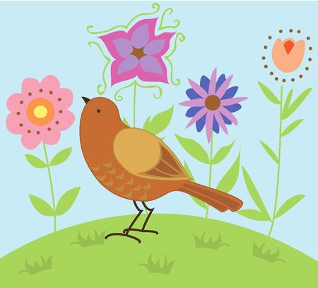 Bird in a Garden Ilustração