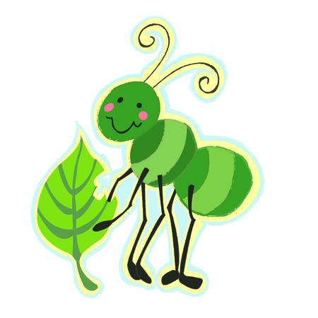 Cute Green Bug Eating a Leaf Ilustrace