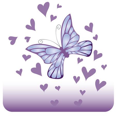 Glanzende blauwe vlinder  Stock Illustratie