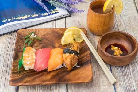 seafood sushi with soysauce Stock Photo