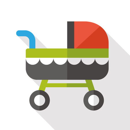 perambulator: baby carriage flat icon with long shadow Illustration