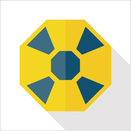 caution chemistry: Radiation flat icon with long shadow Illustration