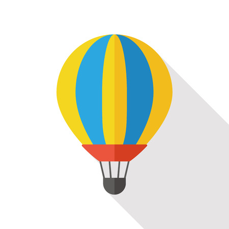 cheerfulness: hot air balloon flat icon with long shadow Illustration
