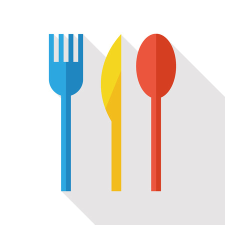 ware: Kitchen ware tableware flat icon with long shadow