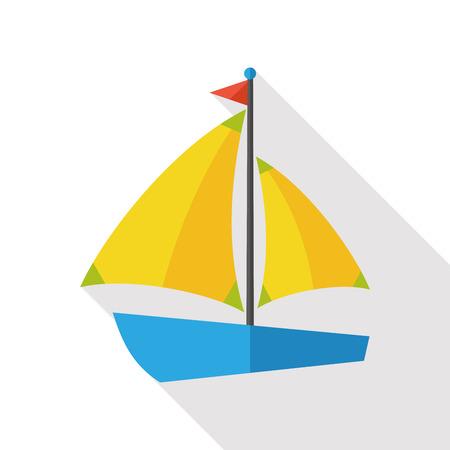 barca a vela: Barca a vela icona piatto con una lunga ombra