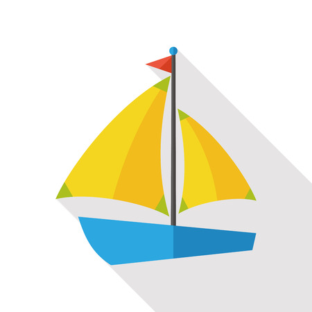 waterway: Sail Boat flat icon with long shadow Illustration