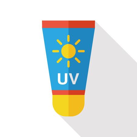 Zonnecrème vlakke icoon met lange schaduw