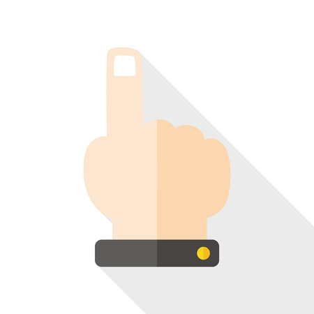depress: hand click flat icon with long shadow