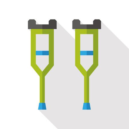 Crutch flat icon with long shadow