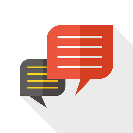 feedback button: Chat speech flat icon with long shadow