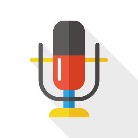 microfono antiguo: Icono plana micrófono con una larga sombra