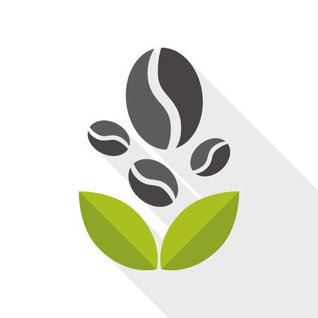 long bean: coffee bean flat icon with long shadow