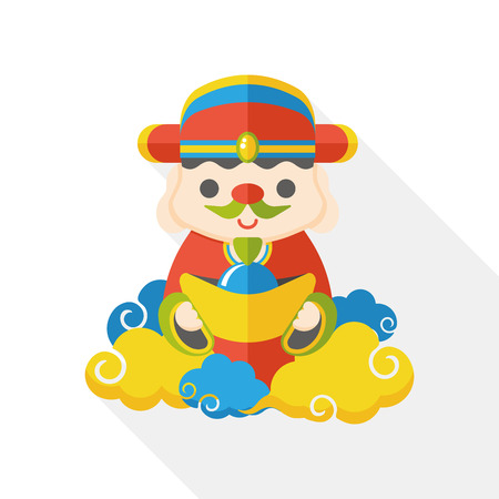 Chinese New Year God of wealth flat icon