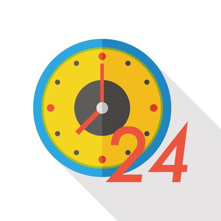 24 hours shop open flat icon Illustration