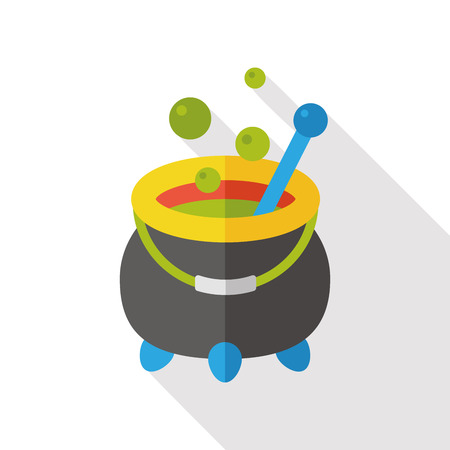 chowder: Witchs pot flat icon Illustration