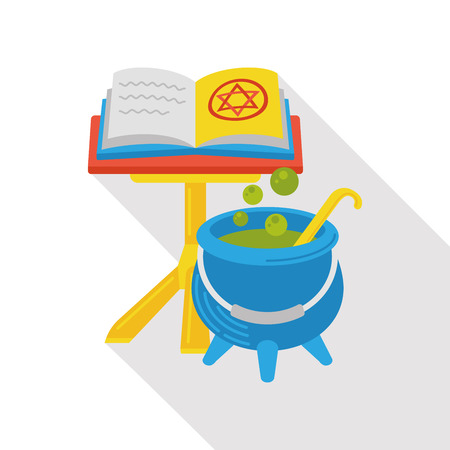 horrific: Witchs pot and magic book flat icon Illustration