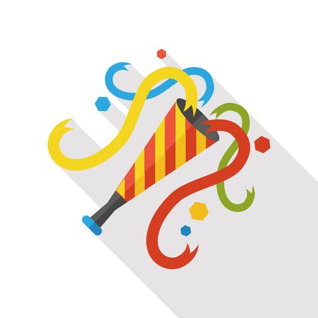 cuernos: fiesta de cumpleaños cuerno icono plana Vectores