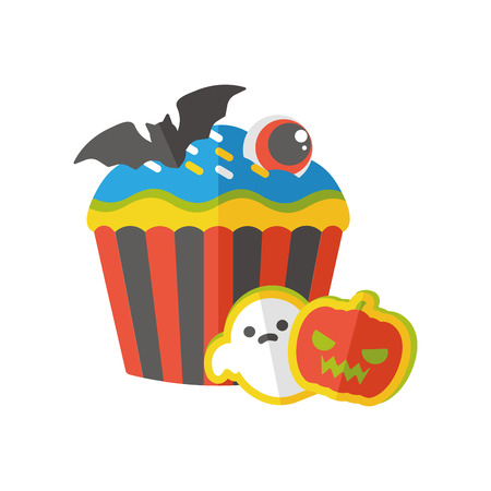 viewpoints: Halloween cupcakes flat icon Illustration
