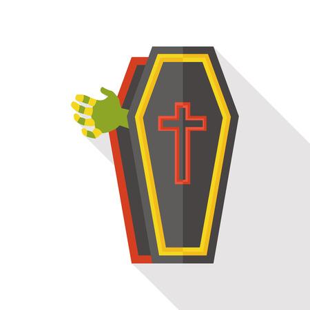 trumna: Trumna płaskim ikona Ilustracja