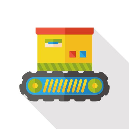 packaging equipment: conveyor box flat icon Illustration