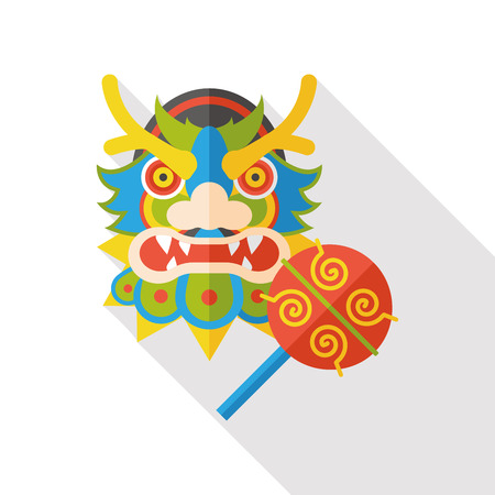 lion dance: Chinese New Year dragon and lion dancing head flat icon