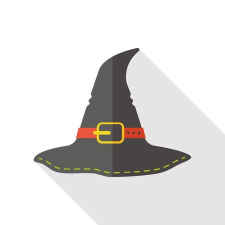 witch on broom: witch hat flat icon