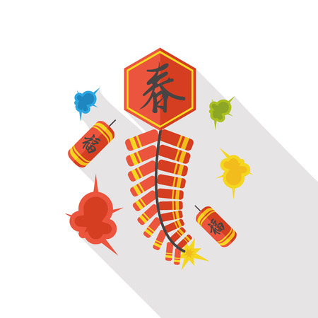 firecrackers:  Wish spring comes Chinese firecrackers flat icon