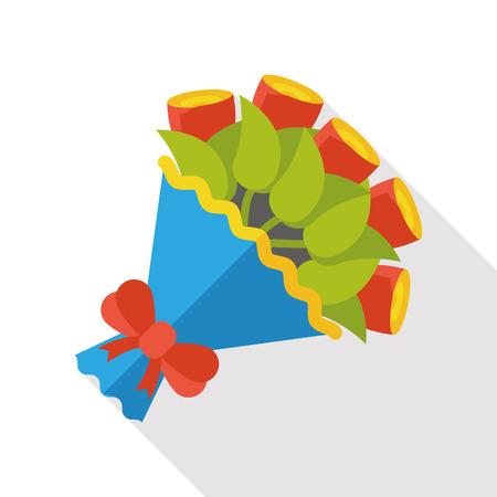bouquet fleurs: bouquet de fleurs icône plat Illustration