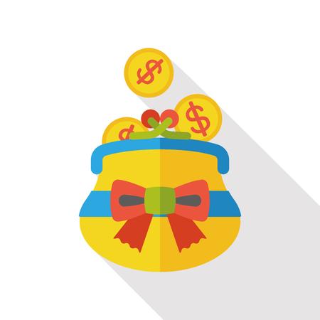 change purse: shopping change purse flat icon Illustration