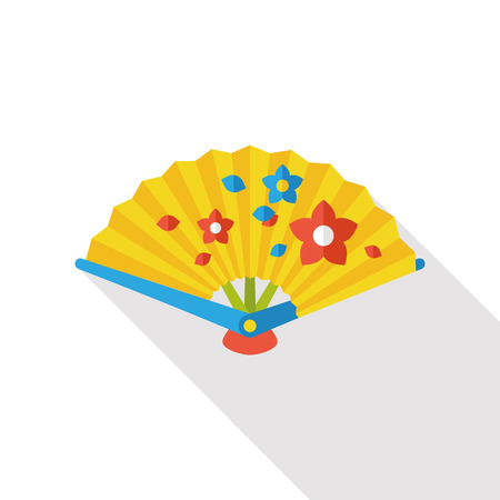 folding: Chinese New Year flat icon; Folding fan with Chinese blessing words  Happy New Year.