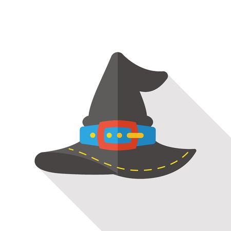 bruja: bruja sombrero icono plana
