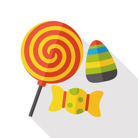 Halloween bonbons icône plat Banque d'images - 47496482