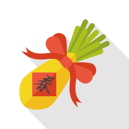 chines: Chinese New Year flat icon; lucky white radish with Chinese words means  Wish it can brings luck to you in the new year. Illustration