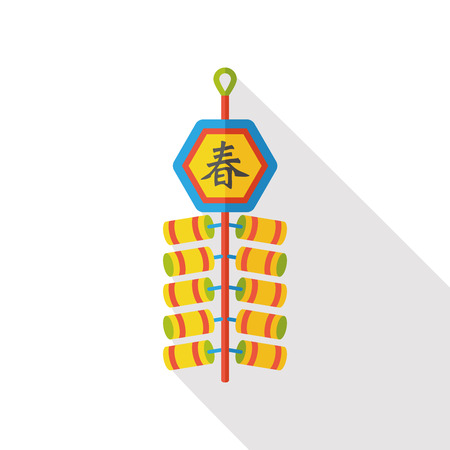 firecrackers: Chinese New Year flat icon; firecrackers means  wish good luck and fortune comes.