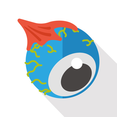 halloween eyeball: Halloween eyeball flat icon
