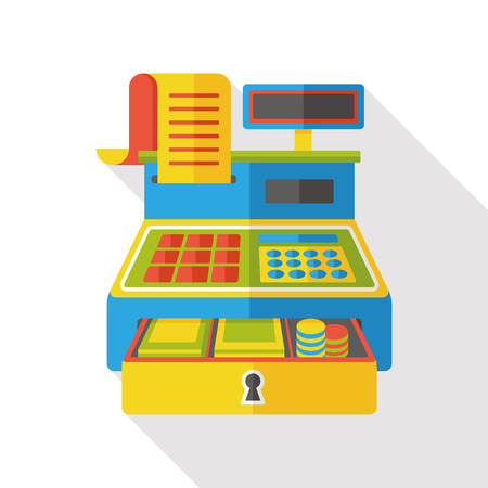 checkout counter: shopping cash register flat icon