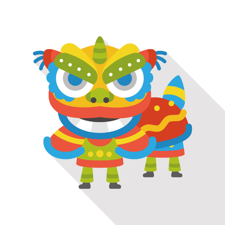 The dragon and lion dancing head flat icon
