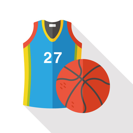 gym dress: Sportswear and basketball flat icon Illustration